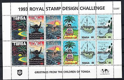 Tonga 1993 Children's design sheetlet  Overprinted Specimen.Sg 1254-1265s.Cheap