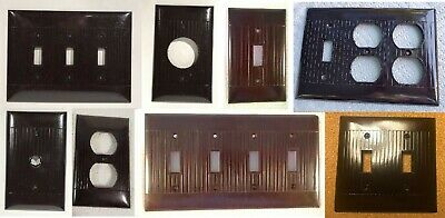 Vintage Eagle Sierra Brand Brown Bakelite Ribbed Outlet Switch Plate Covers