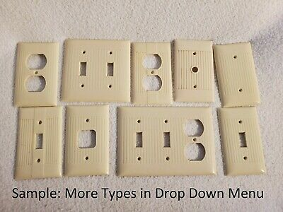 Vtg Eagle Sierra Bakelite Ribbed Outlet Wall Switch Plate Cover ~ Classic Ivory