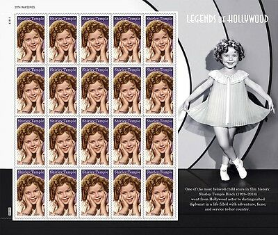 Us (2016) #5060 Shirley Temple Legends Of Hollywood Forver Stamp Sheet Of 20 Mnh