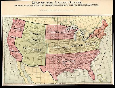 Antique 1903 Map of the United States Showing Areas of Commercial Staples Cram