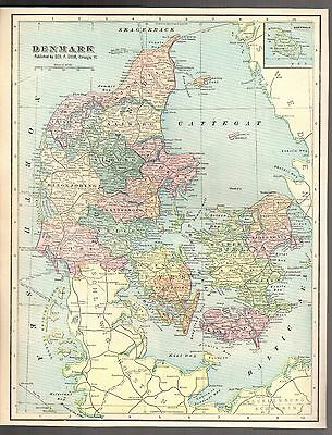 "Antique 1903 Color Detailed Map of Denmark by Geo F. Cram - Size 11"" X 14"""