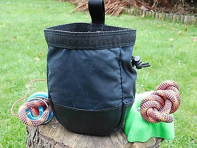 Climbing Bouldering Chalk Bag,waxed Canvas & Leather,Draw Cord,Fleece Lined
