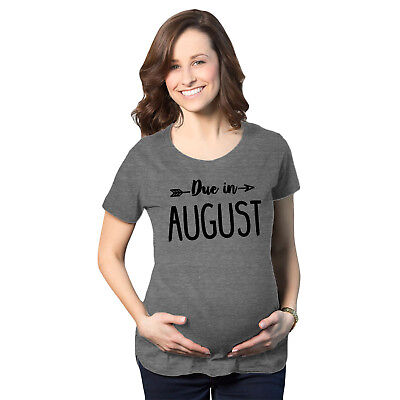 Maternity Due In August Pregnancy Announcement Baby Bump T shirt