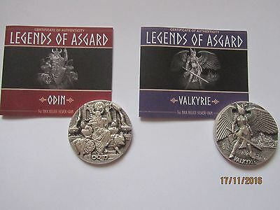 Odin and Valkyrie 2016, 2 x  3 OZ MAX RELIEF SILVER COIN, LEGENDS OF ASGARD
