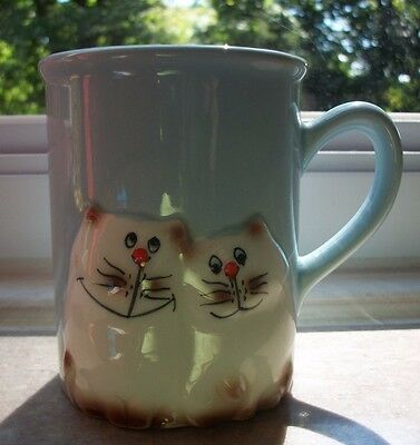 Vintage Light Blue with White 3D Cats Porcelain Coffee Mug. Japan