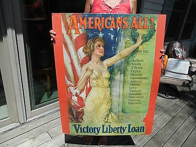 Original 1919 Wwi 'americans All'victory Liberty Loan Poster By Howard Christy
