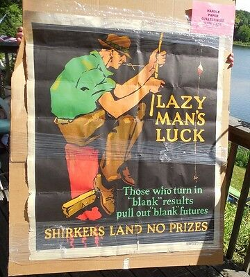 Original 1929 Lazy Mans Luck Shirkers Poster Mather Work Incentive  Chicago Rare