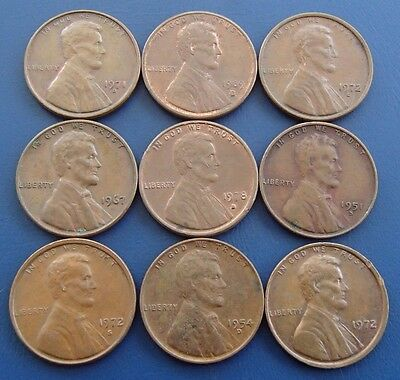 1951 - 1989 x 9 Different USA One 1 Cent Penny Coins - 2a