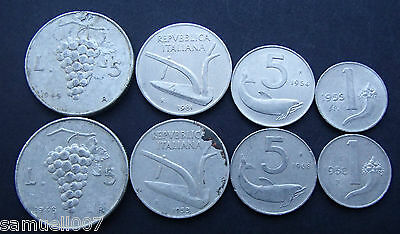 Italy Coins 8 in Total - Mixed Grades and Denominations - 138