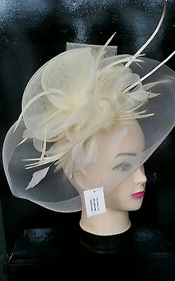 Cream fasinator hair piece races wedding special occasion headband hat clip uk