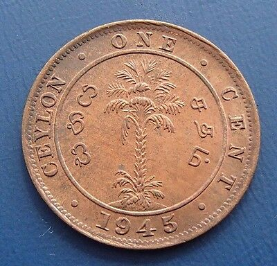 1945 Ceylon One 1 Cent - George VI - Uncirculated - 20a