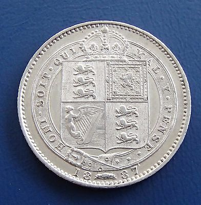 1887 Queen Victoria sterling silver one shilling coin - 5.6g - 753a