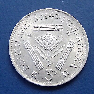 1943 South Africa Silver Three Pence - 632