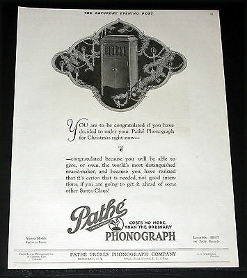 1919 Old Magazine Print Ad, Pathe' Phonographs, Order Yours Now For Christmas!