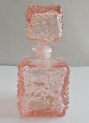 Pink Vintage Style Glass Perfume Bottle With Stopper