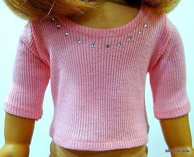 """PINK Ribbed w/RHINESTONES LS DOLL TOP T-SHIRT fit 18"""" AMERICAN GIRL DOLL"""