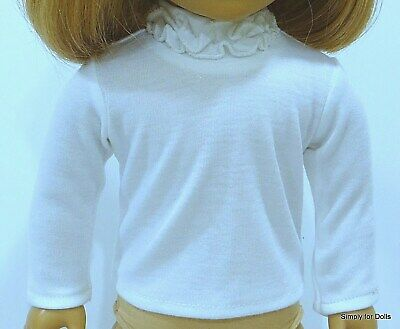 """WHITE Long Sleeve DOLL T-SHIRT w/ Ruffles fits 18"""" AMERICAN GIRL Doll Clothes"""