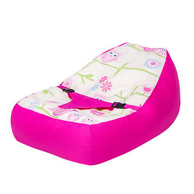 Owls Pink Girls Nursery Baby Bean Bag Cotton Secure Zip Cover Seat Chair Beanbag