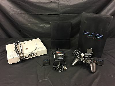 Lot of 3 Game Consoles Sony Playstation & PS2 with 2 8GB Memory Card  Controller