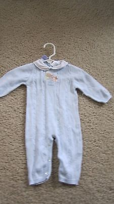 Peter Rabbit Baby Boy light Blue Knit Sz 3-6 month Cable Knit Collared Romper