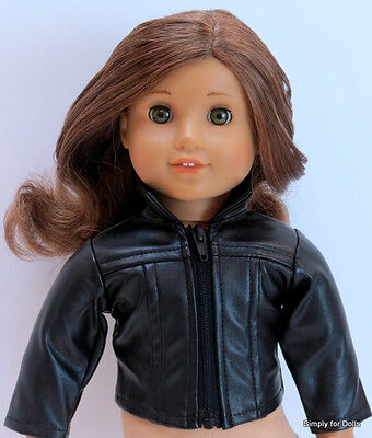 "BLACK Leather-Look DOLL JACKET / COAT fits 18"" AMERICAN GIRL Doll Clothes"