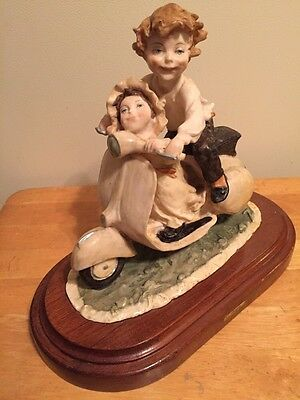 Large Capodimonte Porcelain Figurine Boy Girl Brother Sister On A Scooter EXC