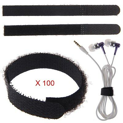 100 x 11cm Black Nylon Velcro Cable Ties Tidy Straps Network Cabling Organiser