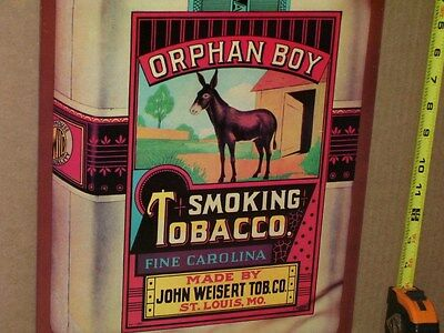 ORPHAN BOY - SMOKING TOBACCO -With Donkey ?or Mule ? From ST LOUIS MISSOURI Sign