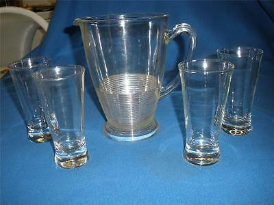 Retro Depression Glass Beer Jug With 4 Glasses