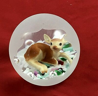 Rare 1995 Gibson Glass Frosted Sulphide Paperweight W Fawn Deer Inside