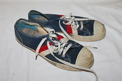 1970s Retro Canvas Shoes Red/White/Blue Sneakers Size 9 1/2 Used