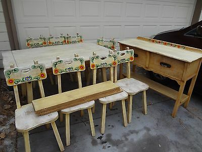 "1930's MASON'S ""MONTEREY"" DINING ROOM SET...14 PIECES...BRANDED with HORSESHOE"