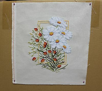 New Completed Finished Cross Stitch / Handmade / Camomiles / Flower