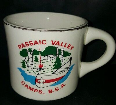 Vtg BSA Passaic Valley Camps with Canoe on River Boy Scout Coffee Cup