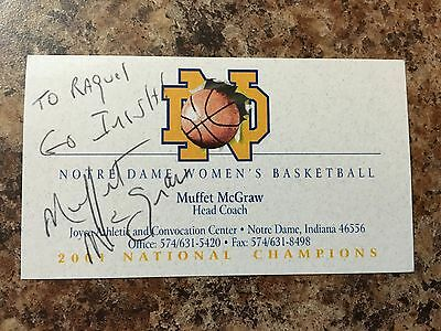 Muffet McGraw autograph  Norte Dame business card signed Autographed
