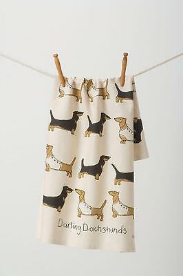 Anthropologie Darling Dachshunds Dogs Kitchen Dishtowel New With Tags