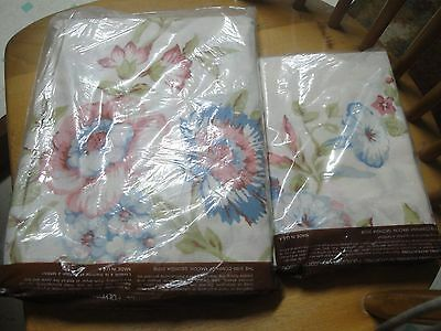 VINTAGE ROOM CONCEPTS DOUBLE Fitted SHEET & PILLOWCASES Poppy  FLOWERS NIP