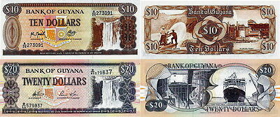 GUYANA - Lotto Lot 2 banconote 10/20 Dollars FDS - UNC