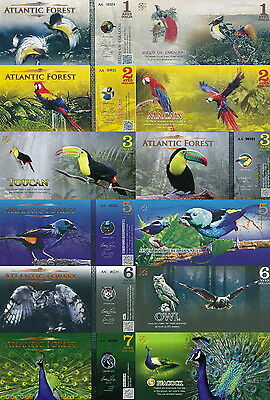 ATLANTIC FOREST - Lot Lotto 6 banconote 1/2/3/5/6/7 aves dollars 2015 FDS UNC