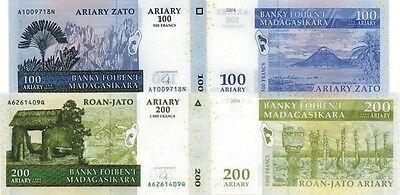 MADAGASCAR - Lotto 2 banconote 100/200 Ariary 2008 (2004) FDS - UNC