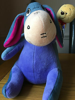 "Gorgeous Eeyore Soft Toy with Pooh on Hand, 11.5"" in Height, With Tags"