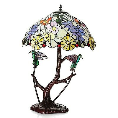 """Table Lamp 2 Light Tiffany Style Stained Glass LOVE BIRDS Handcrafted 18""""Dx26""""H"""