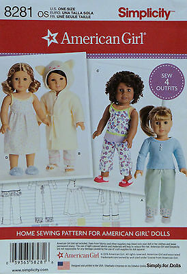 """Simplicity 8281 Sewing PATTERN for 18"""" AMERICAN GIRL DOLL Clothes 4 OUTFITS"""