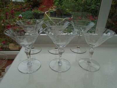 30's 40's SET SIX ETCHED CHAMPAGNE SAUCERS COCKTAIL MARTINI GLASSES