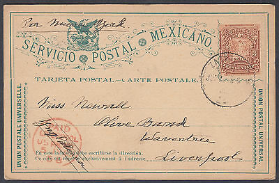 1895 Mexico Stationery Postcard  to Warrington; Liverpool Receiver