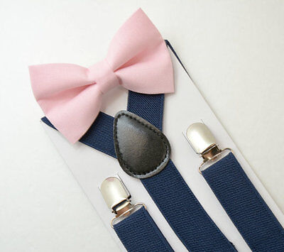 Adult Mens Navy Blue Suspenders & Pink Bow Tie Set - Size Adult