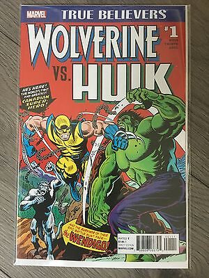 HULK #181 MARVEL COMICS Wolverine vs Hulk #1 True Believers Reprint NM