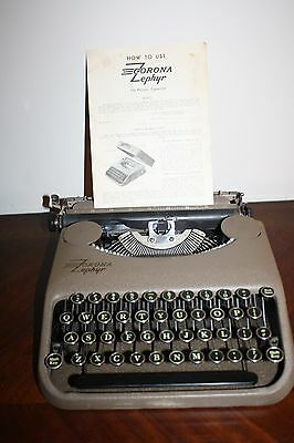 Vintage 1940's Smith Corona Zephyr Portable Typewriter (w) cover, instructions