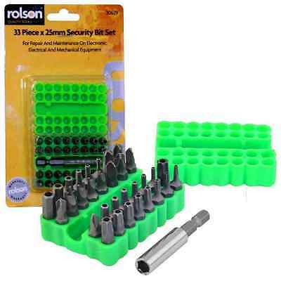 Rolson 33pc x 25mm Security Bit Set Tamperproof DIY Tools Hex Key Tri Wing